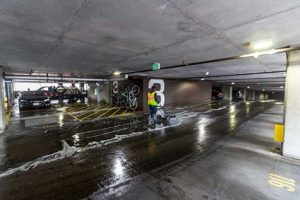 Hydro-scrubbing Parking Garage